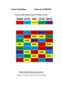 Bateria de actividades de atención y estimulación cognitiva con CUATRO letras y colores, Con plantilla editable - Orientacion Andujar | Materiales de Orientación Andújar | Scoop.it