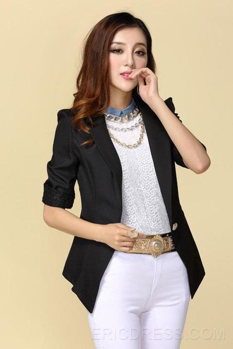 $ 28.59 Authentic New Arrival Slim Split Joint Three Quarter Sleeves Lace Special Blazer Outwear   the fashion clothes shoes dress bags   Scoop.it