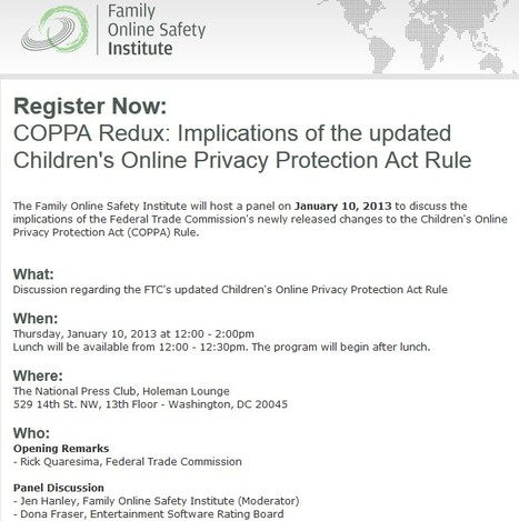 Implications of the updated Children's Online Privacy Protection Act Rule | Be  e-Safe | Scoop.it