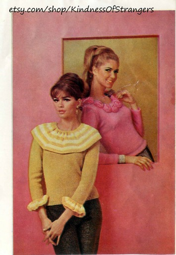 Two Vintage Girlie Frilly Ladies Sweater Knitting Patterns 1964 | Kitsch | Scoop.it