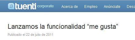 "Tuenti lanza un botón ""me gusta"" | Google+, Pinterest, Facebook, Twitter y mas ;) | Scoop.it"
