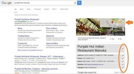 La page Google My Business peut désormais être mise à jour depuis la page de résultats | Animation Numérique de Territoire | Scoop.it