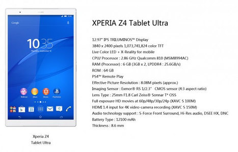 Sony Xperia Z4 Tablet Ultra Could Feature a 12.9″ Display, a 64-Bit ARM Processor, 6 GB RAM, and More   Embedded Systems News   Scoop.it