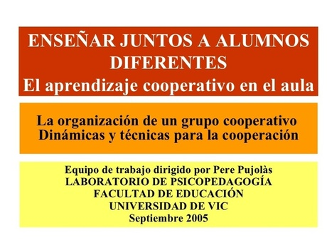 EL APRENDIZAJE COOPERATIVO EN EL AULA | Recurso educativo 99089 - Tiching - Tiching | Educació a l'escola | Scoop.it