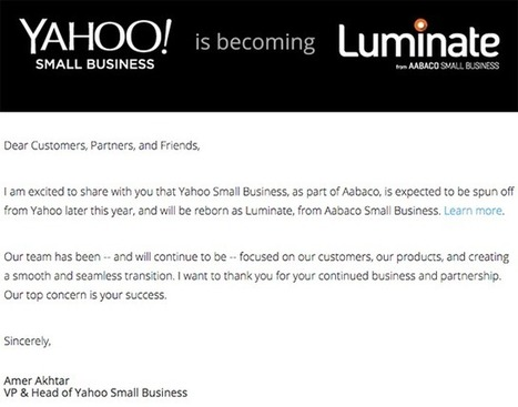 Yahoo Small Business To Be Spun Off To Luminate From Aabaco | internet marketing | Scoop.it
