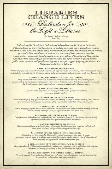 Declaration for the Right to Libraries | American Library Association | Librarysoul | Scoop.it