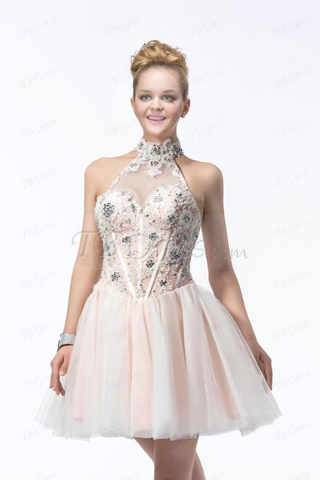 Latest A-line Sleeveless  Appliques&Sequins Jewel Neck Short/Mini Length Cocktail/Prom Dress | skirt | Scoop.it