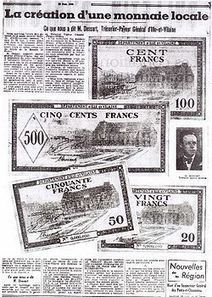 Une monnaie locale en juillet 1940 - WikiRennes | Monnaies En Débat | Scoop.it