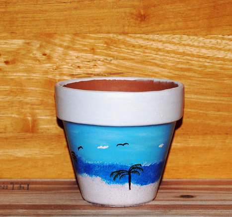 Seagulls and Palm Trees Seascape Flower Pot Ocean Waves Hand Painted on 4.5 Inch Terra Cotta Red Clay Pot Made to Order | Antiques n' Oldies | Scoop.it