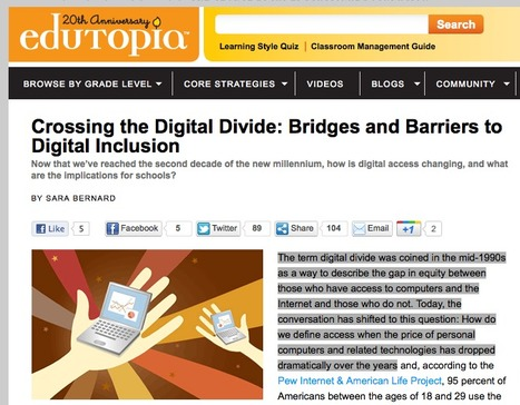 Crossing the Digital Divide: Bridges and Barriers to Digital Inclusion | Edutopia | EDT894 Information Accessibility | Scoop.it