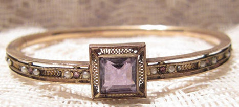 Antique Gold Filled with Amethyst Bangle Bracelet by Cams Co | Fabulous Vintage Jewelry | Scoop.it