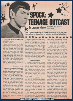 "My Star Trek Scrapbook: 1968 Article ""Spock: Teenage Outcast"" 