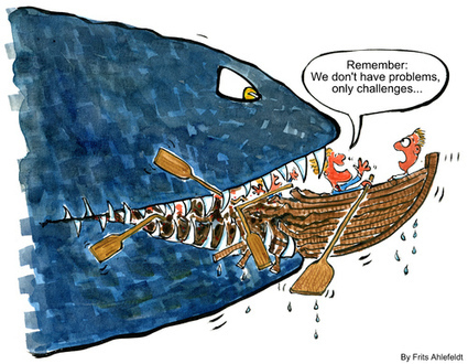 No problems only challenges fish By Frits Ahlefeldt | Business Cartoon | TOONPOOL | Comic Strips | Scoop.it