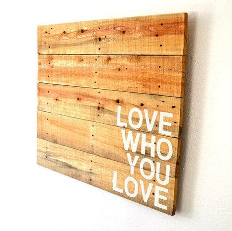 Palette Art grand régénérés Tenture murale bois déclaration Piece - amour qui vous aiment | Recycle | Scoop.it