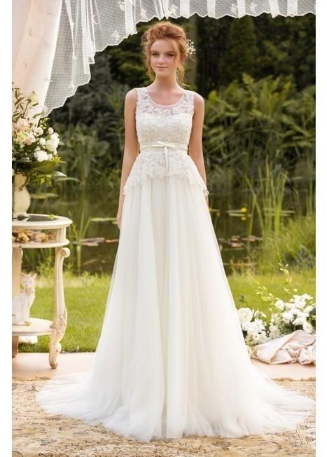 Round Beautiful Neckline A-Line Lace Court Train Wedding Dress | Fashion Dresses | Scoop.it