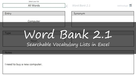 Word Bank 2.1 - Vocabulary Lists in Excel | Applied Corpus Linguistics to Education | Scoop.it