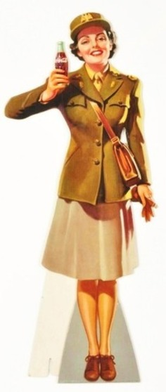 Cardboard Coca-Cola Army Service Girl Cutout. : Lot 726 | Herstory | Scoop.it