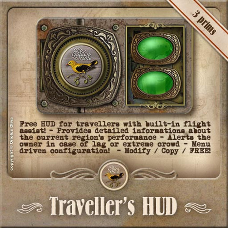 Traveler's HUD - Flight Assist and Lag Meter by The Golden Oriole | Teleport Hub | Second Life Freebies | Scoop.it