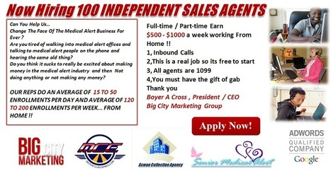$$$ LOOKING FOR Medical Alert SALES PRO'S! TOP LEADS & COMMISSIONS $$$ | is855tollfree | Scoop.it