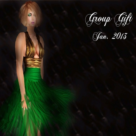 Green and Gold Dress January Group Gift by Glitterati by Sapphire | Teleport Hub | My SL Freebie Fashions | Scoop.it