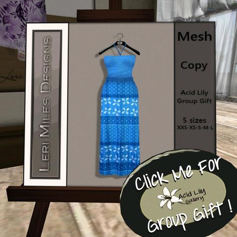 Blue Dress Group Gift by Acid Lily | Teleport Hub | Second Life Freebies | Scoop.it