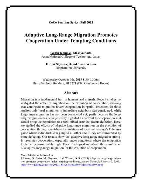 "Next CoCo seminar on Wed Oct 9: ""Adaptive Long-Range Migration Promotes Cooperation Under Tempting Conditions"" by Genki Ichinose 