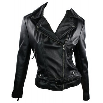 100% Ladies Short Leather Jacket Biker Style Black Retro lapels Doubled Button Collar | Womens Clothing | Scoop.it