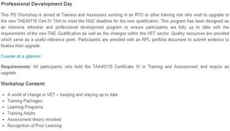 Certificate IV Upgrade | TAA 40110 to TAE 40110 | Pivot Perth | PivotInstitute | Scoop.it