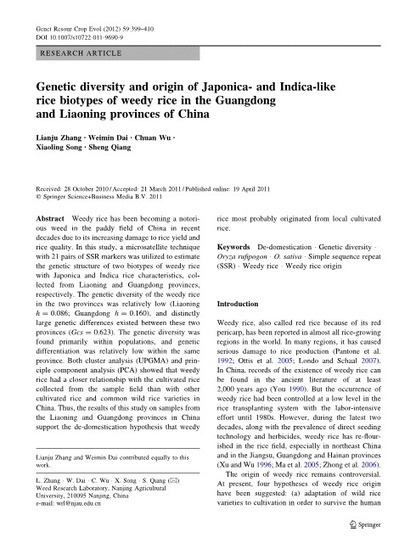 Genetic diversity and origin of Japonica- and Indica-like rice biotypes of weedy rice in the Guangdong and Liaoning provinces of China | Rice origins and cultural history | Scoop.it