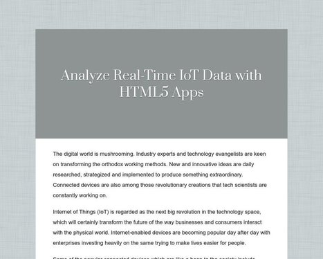 Analyze Real-Time IoT Data with HTML5 Apps - Tackk | Web & Mobile Development | Scoop.it