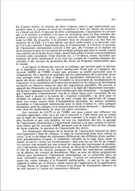 Conflit entre importations parallèles et propriété intellectuelle ? - note biblio ; n°4 ; vol.49, pg 992-994   Droit d'auteur   Scoop.it