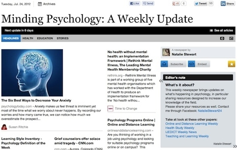 July 24 - Minding Psychology: A Weekly Update | Psychology Professionals | Scoop.it
