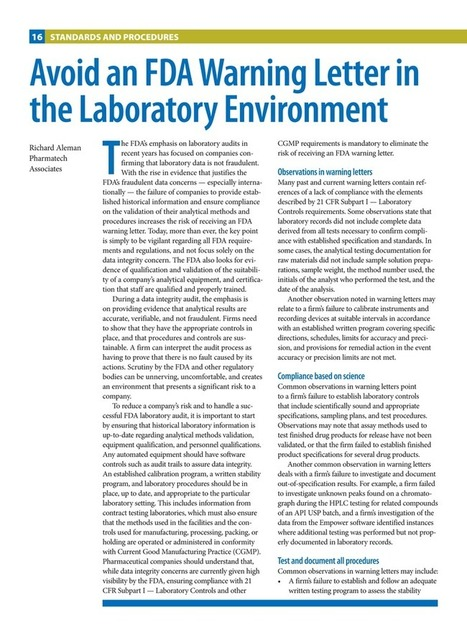 Controlled Environments - September/October 2016 - 16 | Pharmatech Associates articles | Scoop.it