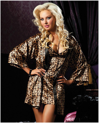 Leopard Print Chemise & Robe Set | Lingerie Love | Scoop.it