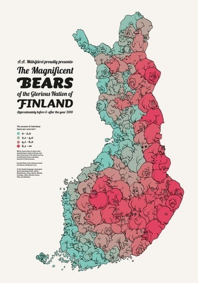 A map of Finland's bear population, made up of bears | INTRODUCTION TO THE SOCIAL SCIENCES DIGITAL TEXTBOOK(PSYCHOLOGY-ECONOMICS-SOCIOLOGY):MIKE BUSARELLO | Scoop.it