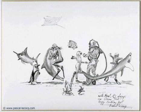 Croquis with Neal, it's always an ocean fest - pencil on paper by Pascal Lecocq | Art by Pascal, The painter of Blue® | Scoop.it