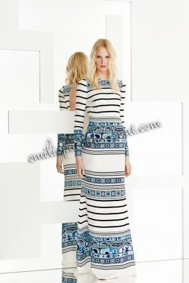 2015 Emilio Pucci Long Dress Blue White Lines Printed | fashion things | Scoop.it