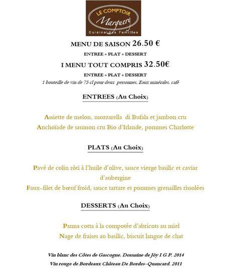 Comptoir Marguery : Menu juillet | Gastronomie Française 2.0 | Scoop.it