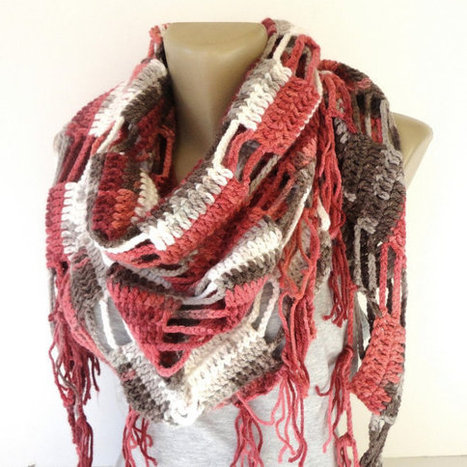 Valentines Day Gift ,pink brown crocheted scarf ,women scarves ,shawl scarves ,cowl ,neckwarmer ,winter fashion accessories , gift ideas | scarf | Scoop.it