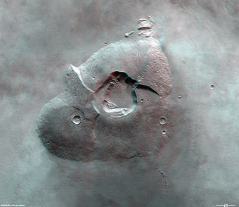 ESA Portal - Battered Tharsis Tholus volcano on Mars | Planets, Stars, rockets and Space | Scoop.it