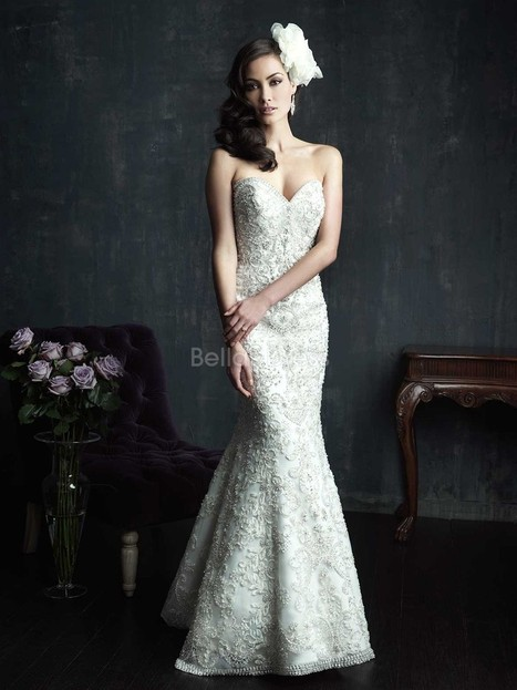 Luxury Lace Sheath/ Column Court Train Sweetheart Wedding Gowns With Beading | a la mode | Scoop.it