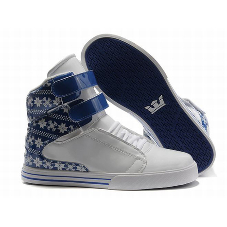 Men Blue and White Tk Society High Top Supra Skate Shoes | my style | Scoop.it