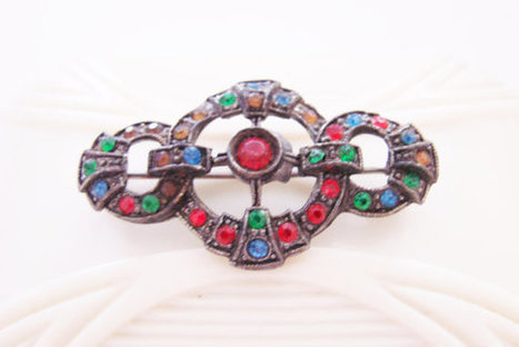 Art Deco Pot Metal Rhinestone Brooch / Multi Color / Antique Brooch / Vintage Jewelry / Jewellery | Vintage and Antique Jewelry & Fashion | Scoop.it