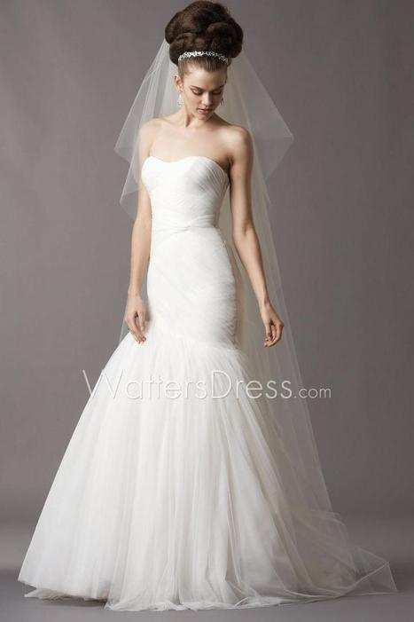 Soft Netting Strapless Draped Dropped Mermaid Designer Wedding Gown | wedding dresses collection | Scoop.it