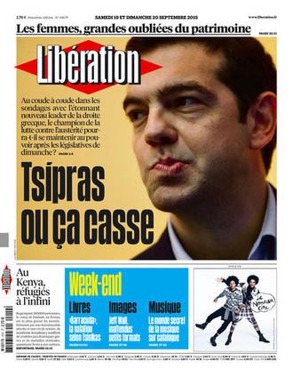 Une de Libération - 19/09/15 | La lettre de Grèce | Scoop.it