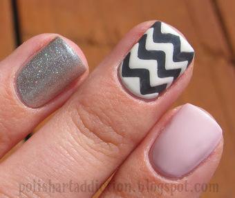 Polish Art Addict: Pink, Gray, & Chevron | Womens Fashion and Hair styles | Scoop.it