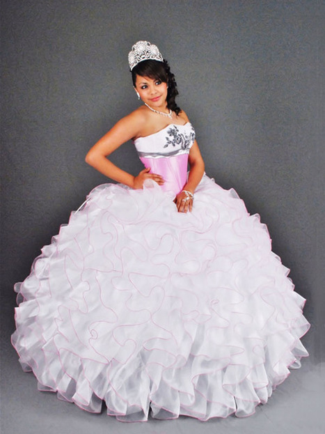 BallGown Sweetheart Organza Floor-length White Tiered Quinceanera Dress at sweetquinceaneradress.com | PUFFY QUINCEANERA DRESSES | Scoop.it