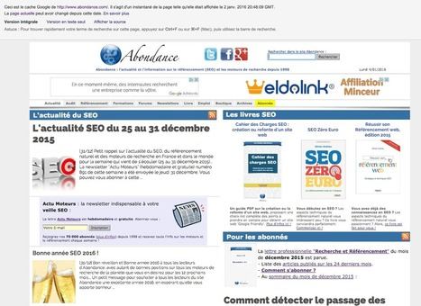 Le cache Google ne renvoie pas la version JavaScript d'une page - Actualité Abondance | Référencement (SEO) - Réseaux sociaux - WebMarketing | Scoop.it