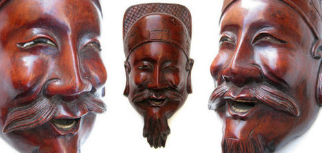 Antique Chinese Asian Carved Wood Face Mask Wall Hanging Art - Happy Laughing Old Wise Man Beard Vintage Decorative Unusual Rosewood | Una mirada occidental-Teatro Chino | Scoop.it