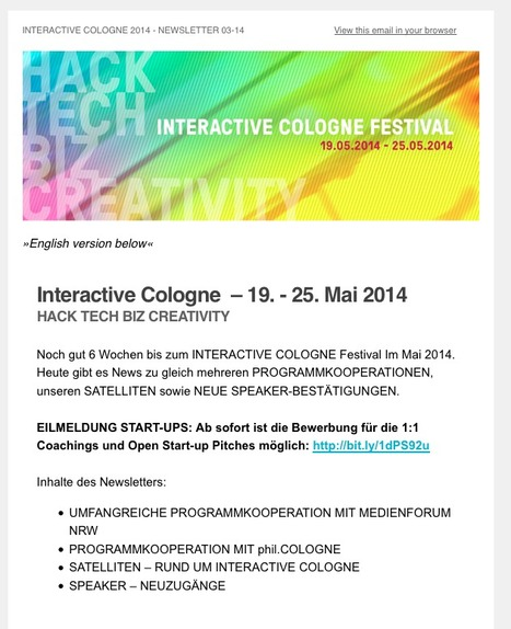 Newsletter 03-2014: INTERACTIVE COLOGNE - PARTNERS, SATELLITES, NEW SPEAKERS (Digital Festival from 19-25 May 2014)   Web de Cologne   Scoop.it